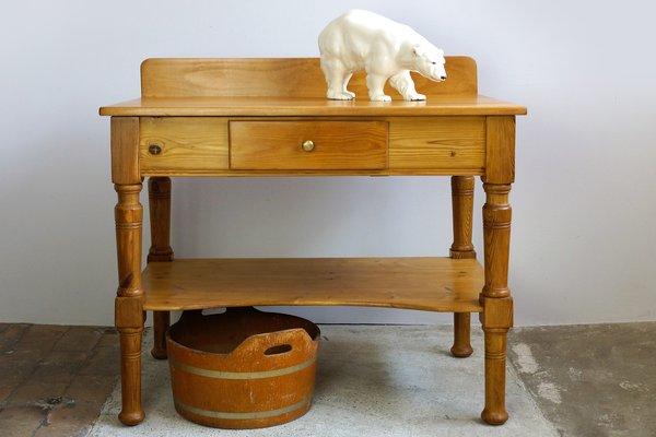 Tavolo da cucina antico Art Nouveau in legno e abete rosso