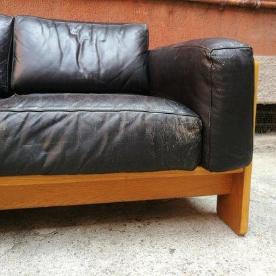 Italian Leather & Wood Bastiano Sofa by Tobia & Afra Scarpa for Knoll, 1962