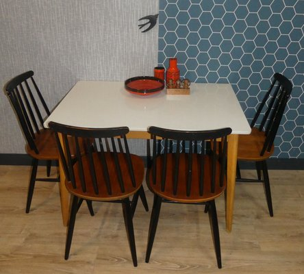 Mid Century German Wood And Formica Dining Table, 1950s