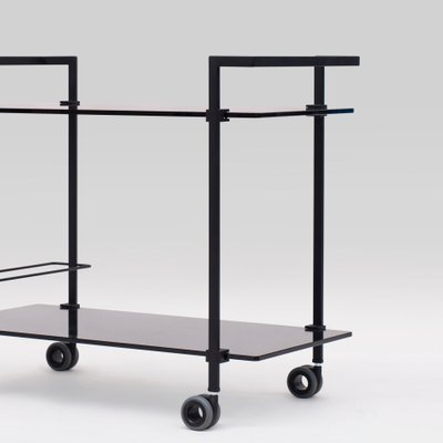 Charcoal Metal Black Glass Pioneer T63s Tea Trolley By Peter Ghyczy For Sale At Pamono