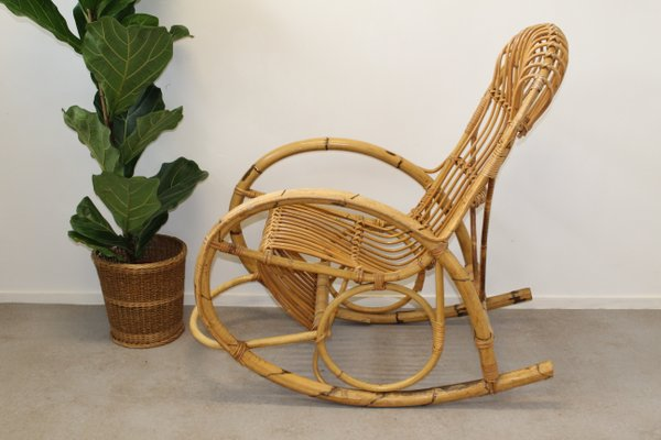 Awe Inspiring Mid Century Italian Bamboo Rocking Chair 1950S Gmtry Best Dining Table And Chair Ideas Images Gmtryco