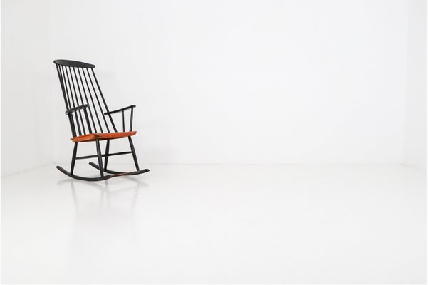 Superb Black Wooden Rocking Chair By Ilmari Tapiovaara For Asko 1950S Lamtechconsult Wood Chair Design Ideas Lamtechconsultcom