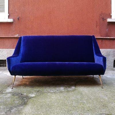 Canape En Velours Bleu Electrique Et Laiton Italie 1950s