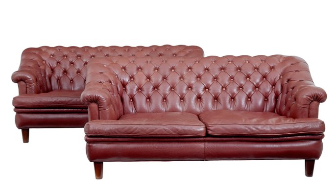 Mid-Century Red Leather Chesterfield Sofas, 1950s, Set of 2