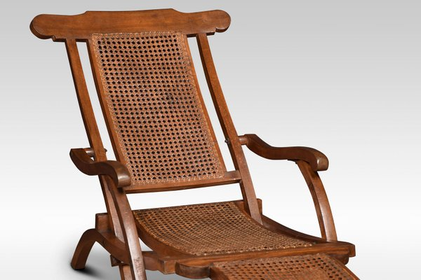 Outstanding Antique Cane And Walnut Folding Lounge Chair Short Links Chair Design For Home Short Linksinfo