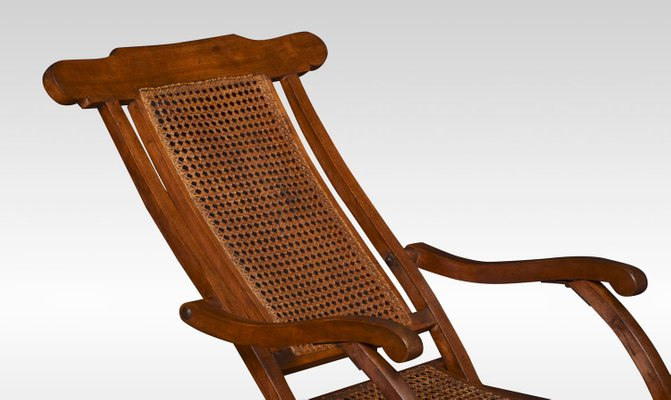 Groovy Antique Cane And Walnut Folding Lounge Chair Short Links Chair Design For Home Short Linksinfo