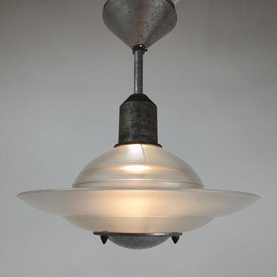 Vintage Art Deco Deckenlampe aus geätztem Glas, 1920er