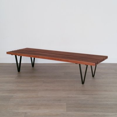 Prime Mid Century Metal And Teak Bench 1960S Spiritservingveterans Wood Chair Design Ideas Spiritservingveteransorg