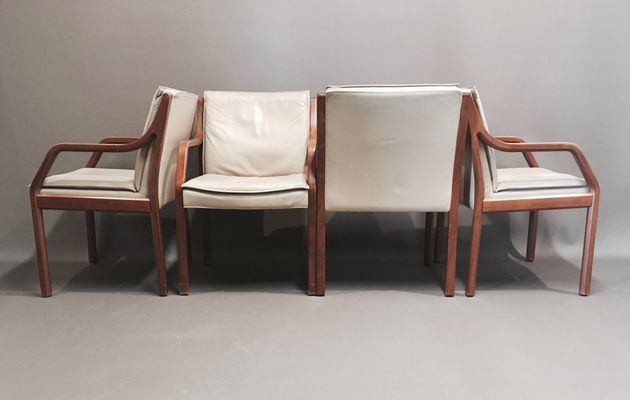 Admirable Antimott Cow Leather And Palisander Lounge Chairs From Knoll 1960S Set Of 4 Alphanode Cool Chair Designs And Ideas Alphanodeonline