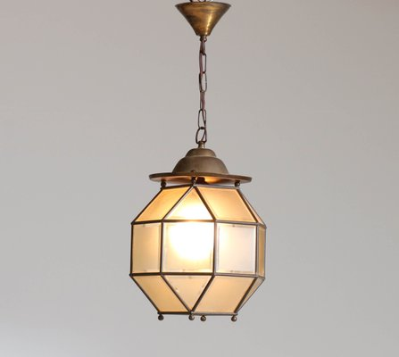 Art Deco Lampe aus Messing & Glas, 1930er