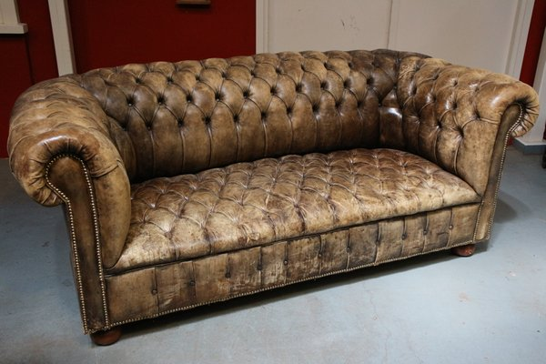 Mid-Century Leather Chesterfield Sofa, 1950s
