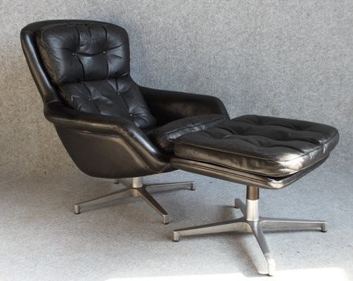 Wondrous Danish Leather Chair And Footstool By H W Klein For Bramin 1960S Machost Co Dining Chair Design Ideas Machostcouk