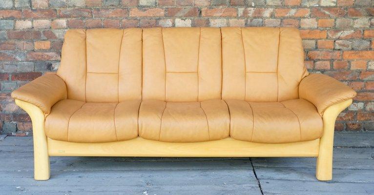 Vintage Scandinavian Modern Leather Sofa from Ekornes, 1980s