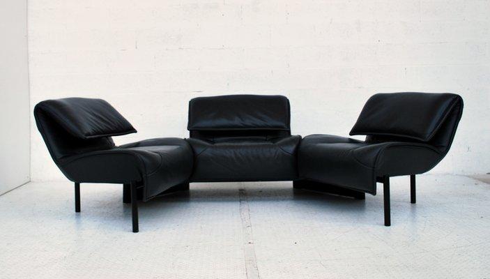 Italian Dark Blue Leather Veranda Sofa by Vico Magistretti for Cassina,  1980s