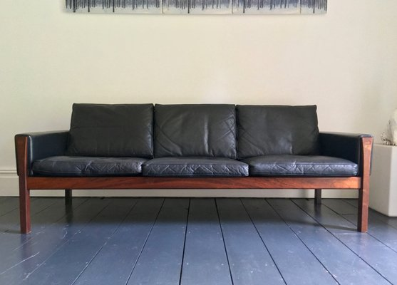 Danish Model AP62 Leather, Metal, and Wood Sofa by Hans J. Wegner for A.P.  Stolen, 1960s