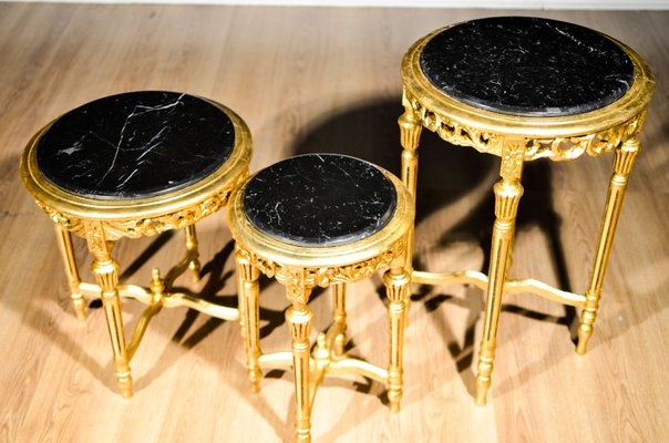 French Gold Leaf Shaped Marble Coffee Tables 1950s Set Of 3