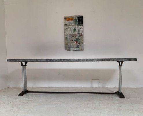 Vintage French Cast Iron And Zinc Dining Table 1930s