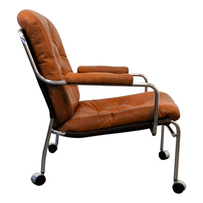 Amazing Leather Lounge Chair On Wheels 1960S Gmtry Best Dining Table And Chair Ideas Images Gmtryco