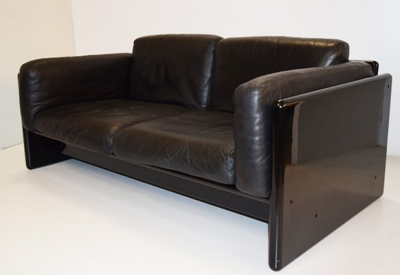 Italian Wood And Aniline Leather Arnolfo 2 Seater Sofa By Mauro Marzocchi For Simon International 1970s For Sale At Pamono
