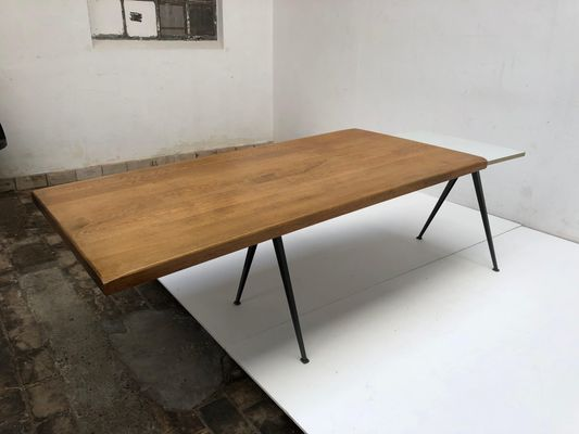 Modernist Oak Top Pyramid Dining Table By Wim Rietveld For Ahrend De Cirkel 1960s