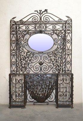 Consolle Ingresso Specchio.Specchio E Consolle Da Ingresso In Ferro Battuto Di Edgar Brandt Anni 20