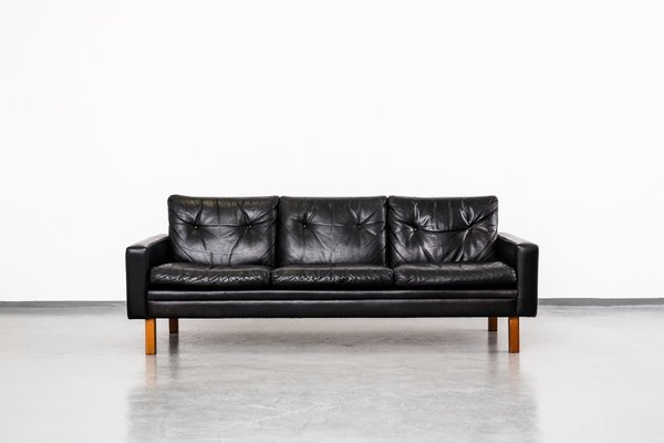 Mid-Century Leather and Teak 3-Seater Sofa, 1960s