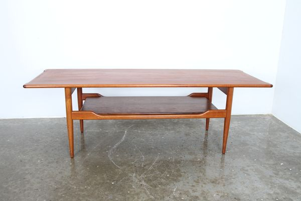 Enjoyable Mid Century Danish Teak Veneer 2 Tier Coffee Table 1960S Ocoug Best Dining Table And Chair Ideas Images Ocougorg