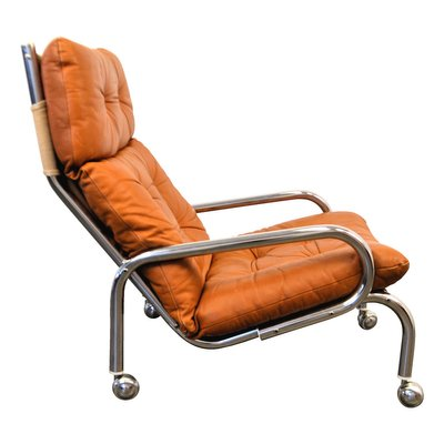 Magnificent Swedish Chrome Leather Lounge Chair With Wheels 1960S Theyellowbook Wood Chair Design Ideas Theyellowbookinfo