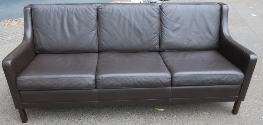 Mid-Century Danish Dark Brown Leather 3-Seater Sofa, 1960s