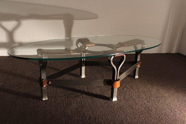 Tavolino da caffè in vetro e pelle di Jacques Adnet, anni \'60