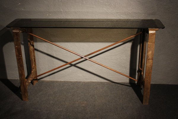 Industrial Cast Iron And Metal Console Table, 1930s