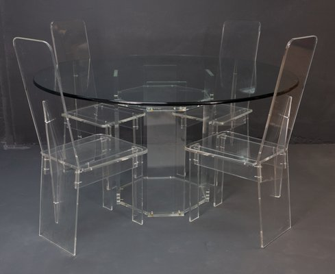 Vintage French Lucite Dining Table 4 Chairs Set 1974