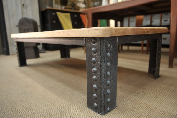 Antique Industrial French Metal And Oak Coffee Table 1900s For Sale At Pamono