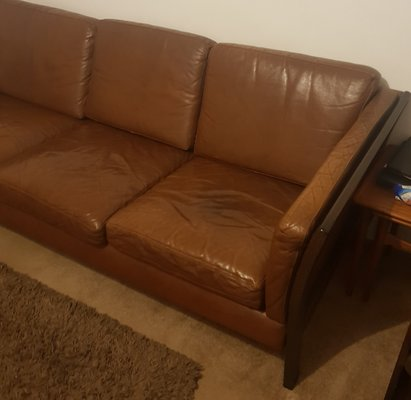 Vintage Danish Brown Leather Sofa, 1970s for sale at Pamono