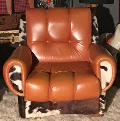 Rustic Leather U0026 Fur Lounge Chair, 1970s