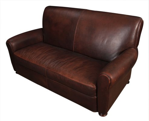 Swell Vintage French Leather Club Sofa 1930S Dailytribune Chair Design For Home Dailytribuneorg