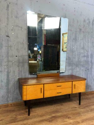 Mid Century Wooden Dressing Table With Mirror, 1960s