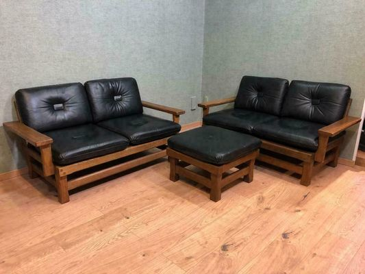 Mid Century Leather And Wood Sofa 1960s