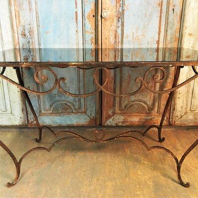 Tavolo In Ferro Battuto E Vetro.Tavolo Da Pranzo Vintage Art Deco In Vetro Colorato E Ferro