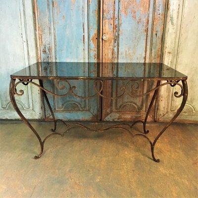 Tavolo Vetro Ferro Battuto.Tavolo Da Pranzo Vintage Art Deco In Vetro Colorato E Ferro