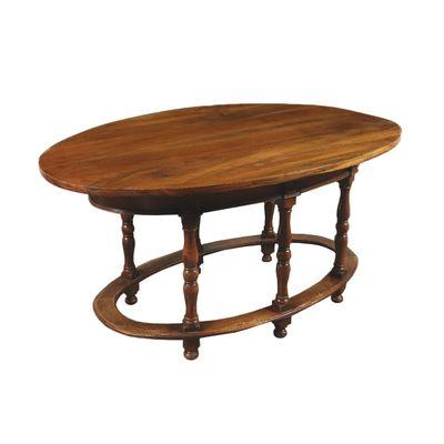Elliptical Antique Italian Walnut Dining Table