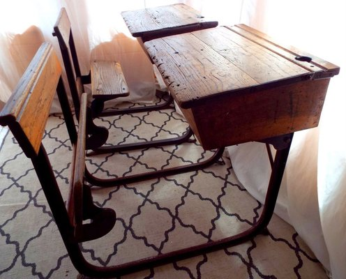 Wondrous Vintage Industrial Oak School Desk With Folding Bench From Kingfisher 1950S Andrewgaddart Wooden Chair Designs For Living Room Andrewgaddartcom