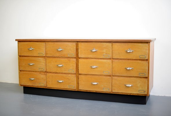 Dutch Design Bank.Mid Century Industrial Dutch Oak And Teak Bank Of Drawers 1940s