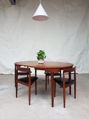 Tavolo da pranzo in teak con sedie di Hans Olsen per Frem Røjle, anni \'60