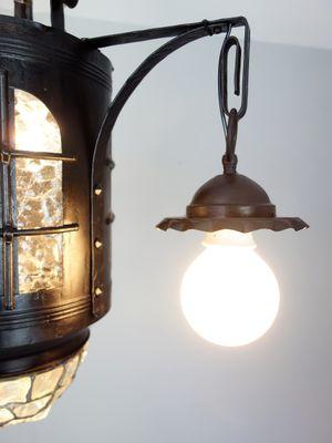 de de techo antigua Lámpara hierro y vidrio envejecido alemana knPX08wO
