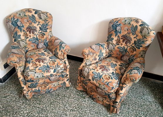 Fine Mid Century Italian Floral Lounge Chairs Set Of 2 Squirreltailoven Fun Painted Chair Ideas Images Squirreltailovenorg