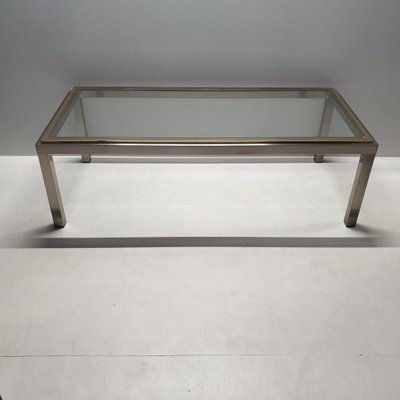 Vintage Chrome Brass Coffee Table With A Glass Top 1980s For Sale At Pamono