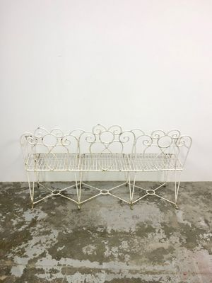 Mid Century French Wrought Iron Garden Bench, 1960s