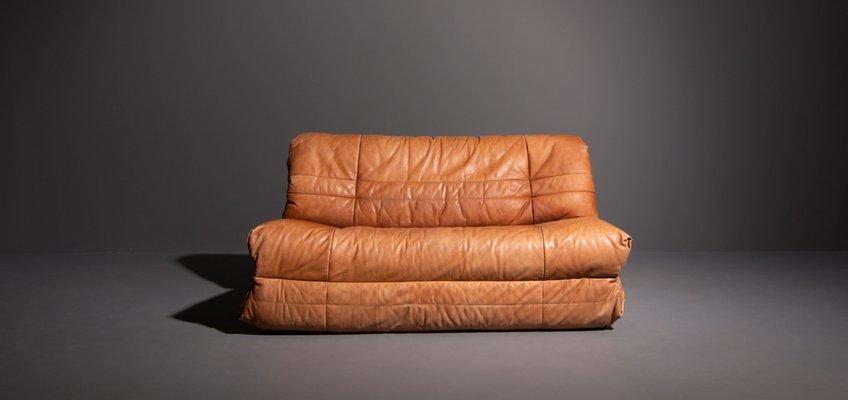 German Cognac 2 Seater Leather Sofa
