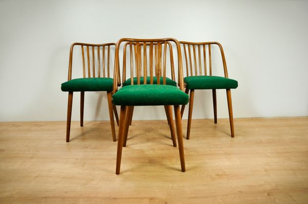Beech And Fabric Dining Chairs By Antonín Šuman For TON, 1960s, Set Of 4